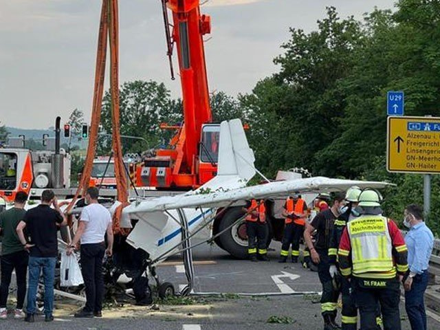 A Small Plane Crashed on the Road in Germany
