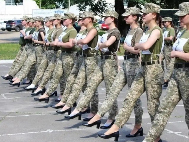 Military Personnel Wearing High-heeled Sandals In Ukraine